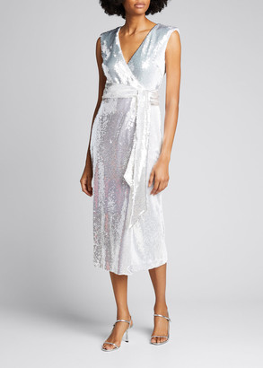 Badgley Mischka Sequined Wrap Dress