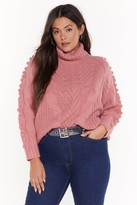 Nasty Gal Womens Have Knit Your Way Plus Cable Neck Turtleneck Jumper - pink - 18/20