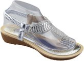 KOLLACHE Womens Low Wedge Toe Post Sandals Ladies Diamante Summer Shoes