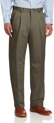 Haggar Men's Big & Tall Cool Gabardine Hidden Expandable-Waist Pleat-Front Pant Navy 48x30