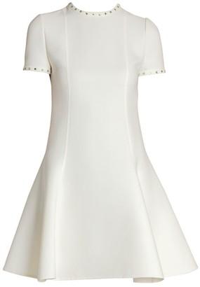 Valentino Swarovski Crystal-Embellished Double-Crepe Wool Dress