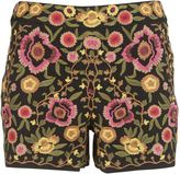 Alice + Olivia Flower Embroidered Shorts