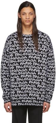Balenciaga Black and White Paris Sweatshirt