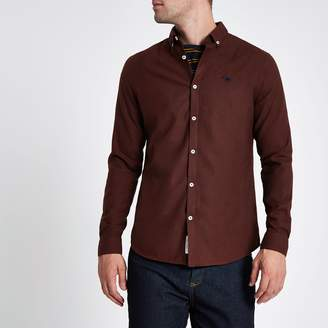River Island Mens Dark Red long sleeve flannel shirt