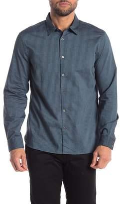 John Varvatos Yarn Dye Picking Stripe Print Slim Fit Shirt