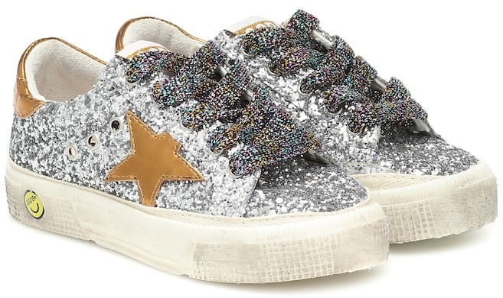 Golden Goose Kids May glitter sneakers