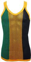 Crystal Mens 100% Cotton Stripe Mesh Fishnet Fitted String Muscle Vest