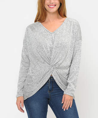 Cool Melon Women's Pullover Sweaters Gray - Gray Front-Twist Tunic - Women