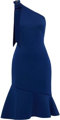 Badgley Mischka One-shoulder Embellished Neoprene Dress
