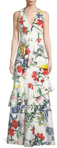 Alice + Olivia Flossie Sleeveless Deep-V Floral-Print Ruffled Tiered Gown