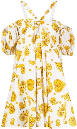 Versace Baroque-Print Flared Dress