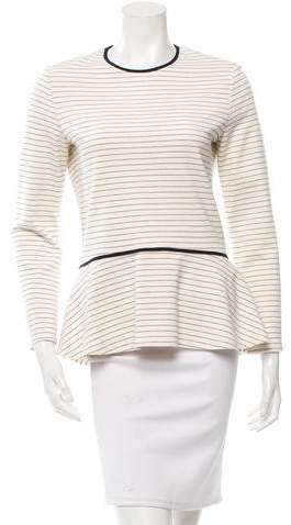 The Row Striped Ruffle-Trimmed Top