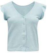 About - Dovana Ruffled Pique Pyjama Top - Womens - Blue