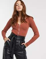 Asos Design DESIGN rib v neck jumper with zip detail