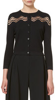 Carolina Herrera Wavy-Illusion Knit Cardigan, Black