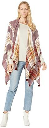 Steve Madden Pom Pom Plaid Ruana (Brick) Women's Clothing