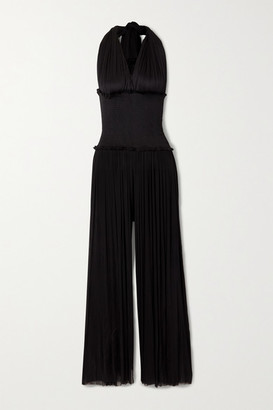 ELENA MAKRI Tyche Draped Shirred Silk-tulle Halterneck Jumpsuit - Black