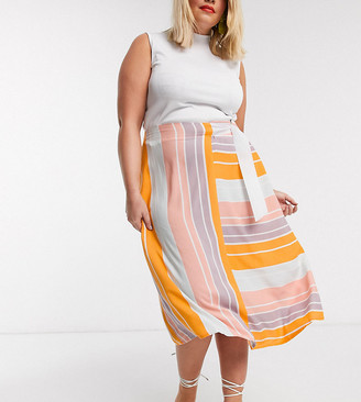 NATIVE YOUTH plus wrap skirt in bright stripe