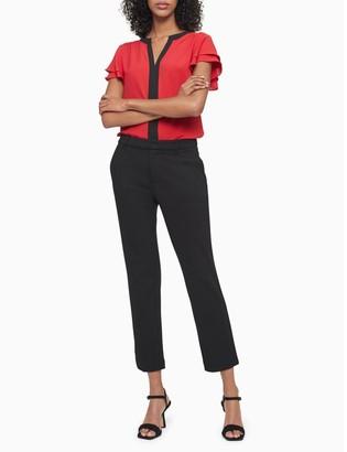 Calvin Klein Colorblock V-Neck Flutter Sleeve Top