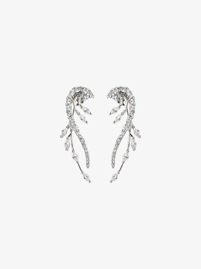 Thumbnail for your product : Apples & Figs Silver-Plated Feather Curve Crystal Earrings