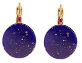 "Satellite Women's ""Tananarive"" Gold Plated Brass Round Blue Stone Drop Earrings"