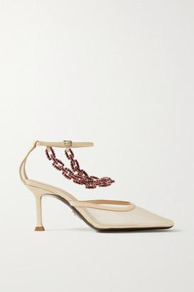 Cesare Paciotti Crystal-embellished Leather-trimmed Mesh Pumps - Beige