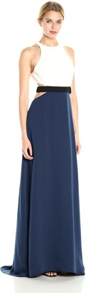 Halston Women's Sleeveless High Neck Color Blockd Gown with Cut Outs