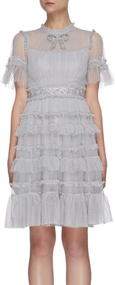 Needle & Thread Crystal embellished bow tulle mini dress