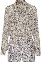 L'Agence Cecilia leopard-print silk-crepe playsuit