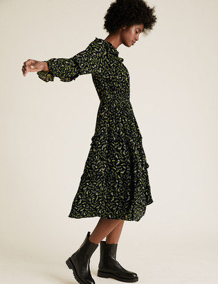 Marks and Spencer Ditsy Floral Frill Detail Midi Dress