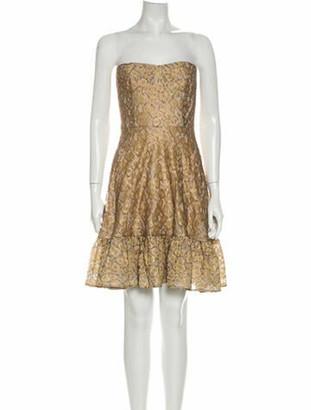 Issa Lace Pattern Mini Dress w/ Tags Gold