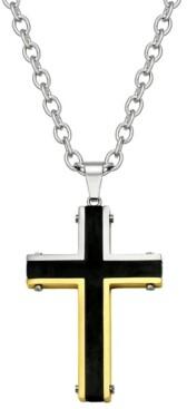 Sutton by Rhona Sutton Sutton Stainless Steel Tri-Tone Cross Pendant Necklace