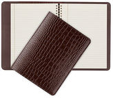Graphic Image NEW Brown Crocodile Leather Large Spiral Journal