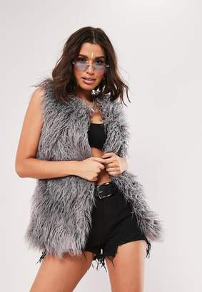 Missguided Grey Shaggy Faux Mongolian Fur Gilet
