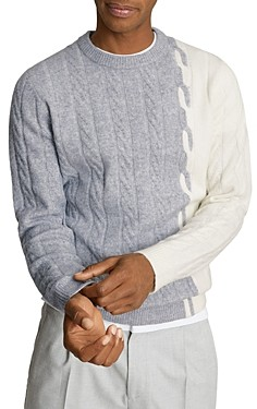 Reiss Colorblocked Cable Sweater