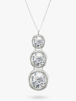 Trilogy E.W Adams 18ct White Gold Rub Over Diamond Pendant Necklace
