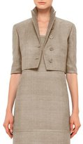Akris Punto Half-Sleeve Button-Front Cropped Jacket, Cord