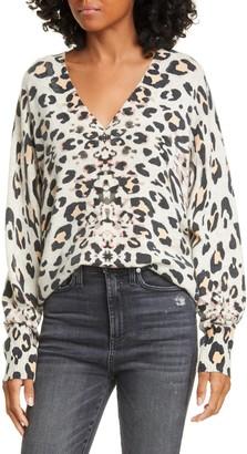 Brochu Walker Kelso Leopard Print Cashmere V-Neck Sweater