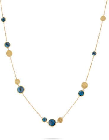Marco Bicego Jaipur 18K Gold & Blue Topaz Station Necklace