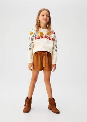 MANGO Furry message floral sweatshirt