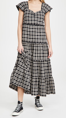 The Great The Plaid Cap Sleeve Dress