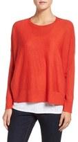 Eileen Fisher Ballet Neck Boxy High/Low Pullover (Regular & Petite)