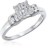 My Trio Rings 1/2 CT. T.W. Diamond Ladies Engagement Ring 10K White Gold- Size 11