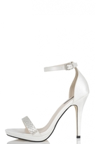 Quiz White Satin Diamante Barely There Heels