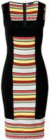 Fendi Black/Multicolored Striped Panel Knit Dress