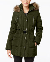 MICHAEL Michael Kors Hooded Faux-Fur-Trim Down Belted Puffer Coat