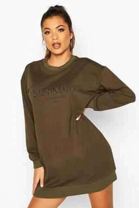 boohoo Slogan Crewe Oversized Sweatshirt Dress
