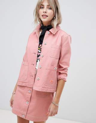 Maison Scotch workwear jacket with contrast stitching-Pink