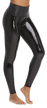 Spanx Sequined Faux-Leather Leggings