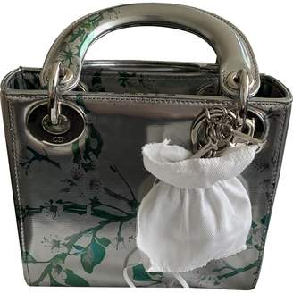 Christian Dior Lady Silver Patent leather Handbags